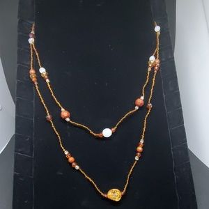 Brown Beaded Two Layer Necklace